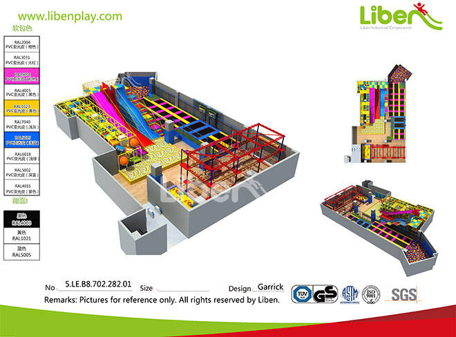 Large Ball Pool Indoor Amusement Soft Play Park with Trampoline Made in China